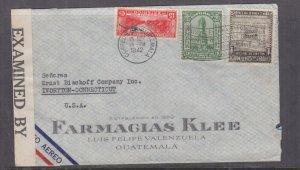 GUATEMALA, 1942 censored airmail cover, Guatemala City to USA, 1c., 3c., 15c.