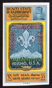 Aden Qu'aiti State Mi #122B  mnh - 1967 World Scout Jamboree Idaho - imperf