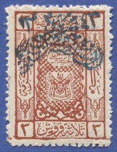 SAUDI ARABIA Nejd 1925 Scott 18 3pi, MLH/HR  VF Blue overprint, Signed A. EID
