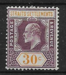 MALAYA STRAITS SETTLEMENTS SG162 1909 30c DULL PURPLE & ORANGE-YELLOW MTD MINT