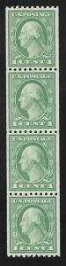 486 1 cent Washington Coil Strip of 4 Stamp Mint OG NH VF