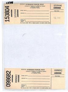 GB SCOTLAND *Aberdeen* 1984 Overseas Parcel Post Labels{2} UNUSED PP32H CR88