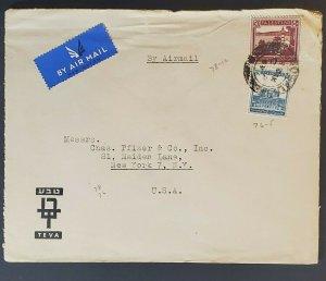 1945 Palestine to New York City USA Teva Ltd Pfizer Advertising Air Mail Cover
