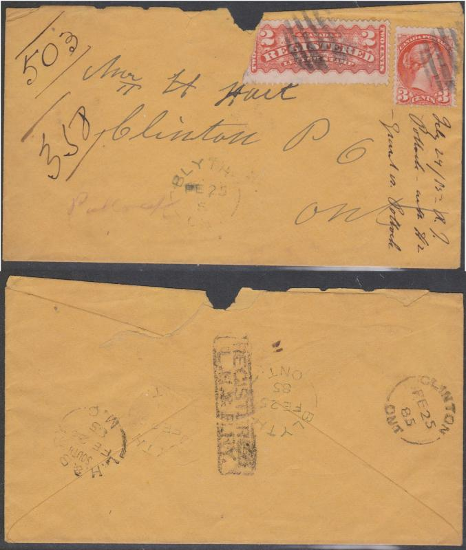 Canada -1885 Registered Cover with Small Queen RPO Backstamps