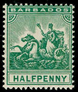BARBADOS SG136, ½d Gree, UNMOUNTED MINT. Cat £28.