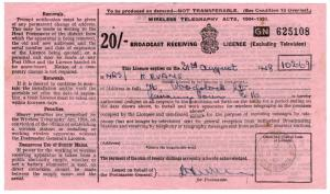 (I.B) George VI Revenue : Wireless Licence 20/- (1948)