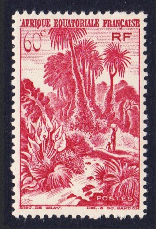 Fr. Eq. Africa Palms and Cataract 1v 60c red MH SG#239 SC#170