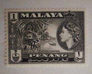 Malaya Penang 1957 Queen Elizabeth II & Local Motives Copra mh*