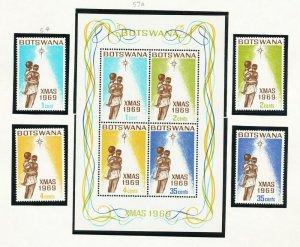 BOTSWANA - # 54-57 & 57a - VFMNH set & S/S - Christmas - 1969