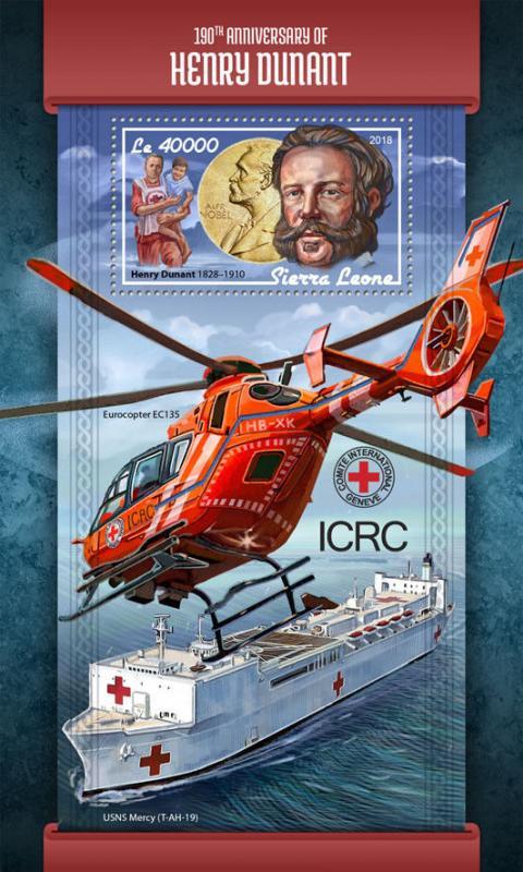 Sierra Leone 2018 MNH Henri Dunant Red Cross 1v S/S Helicopters Medical Stamps