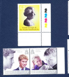 SOUTH GEORGIA - # 294 & 295 - MNH -  QEII and Prince William issues - 2003