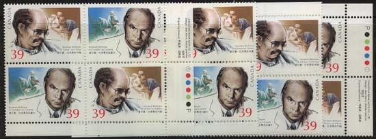 Canada - 1990 39c Norman Bethune Mint MS Pl. Blocks USC #1265a