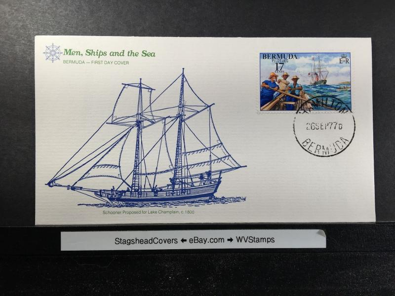 Bermuda FDC 26 Sep 1977 Schooner Proposed for Lake Champion 1800 Unaddressed