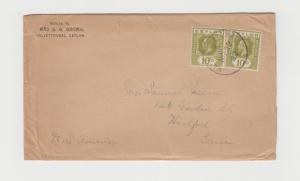 CEYLON -USA 1922 COVER VALVETTI TO HARTFORD 2x10c RATE (SEE BELOW)