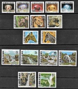 Zimbabwe Gemstone, Animal & Views set of 1980, Scott 414-428 Used