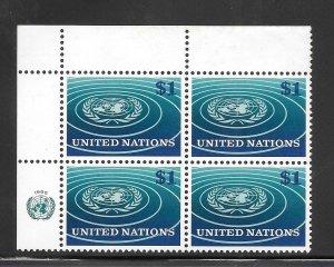 United Nations #150 MNH Margin Inscription Block of 4