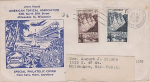 Andorra French Administration 5F and 1F Les Escaldres 1957 Andorre-La-Vieille...