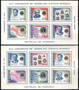 Nicaragua 805a,C415a S/S, MNH.Convention of Lions Intl. of Central America,1958