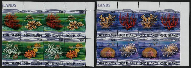 Cook Islands 576-81 TR Blocks MNH Coral, Marine Life