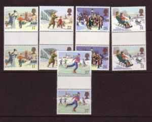 Great Britain Sc 1340-4 1990 Christmas gutter prs mint NH