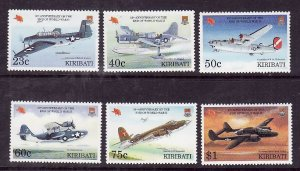 Kiribati-Sc#634-7-Unused NH set-Planes-Aircraft-Military-End of WWII-1995-please