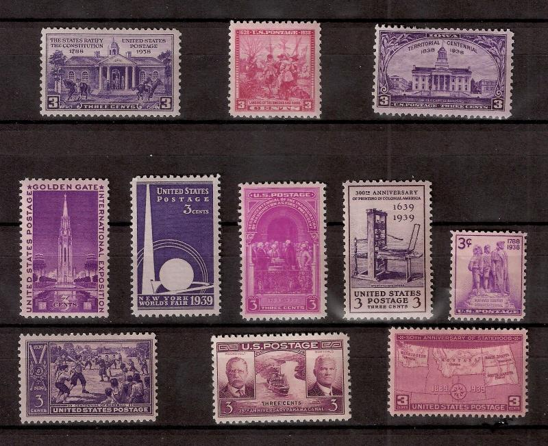 US 1938-39  Commemoratives  Sc# 835-38 - Sc# 852-58 Mint NH 11 Stamps
