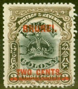Brunei 1906 2c on 3c Black & Sepia SG12c Line Through B V.F.U Rare