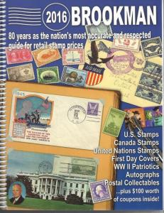 Brookman 2016 Spiral Bound Stamp Catalog Includes US, FDC, Canada, UN,  & More