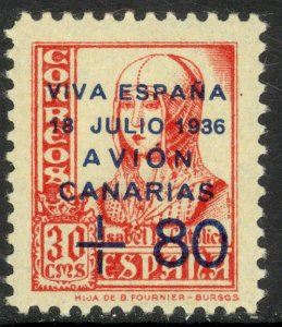 SPAIN CANARY ISLANDS 1937 30c +80c Lufthansa Service Airmail Type I Sc 9LC15 MH