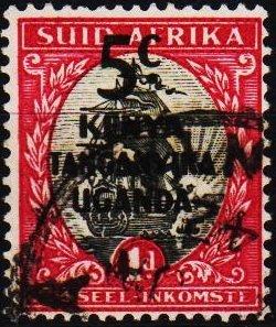 K.U.T. 1941 5c on 1d(Single) S.G.151 Fine Used