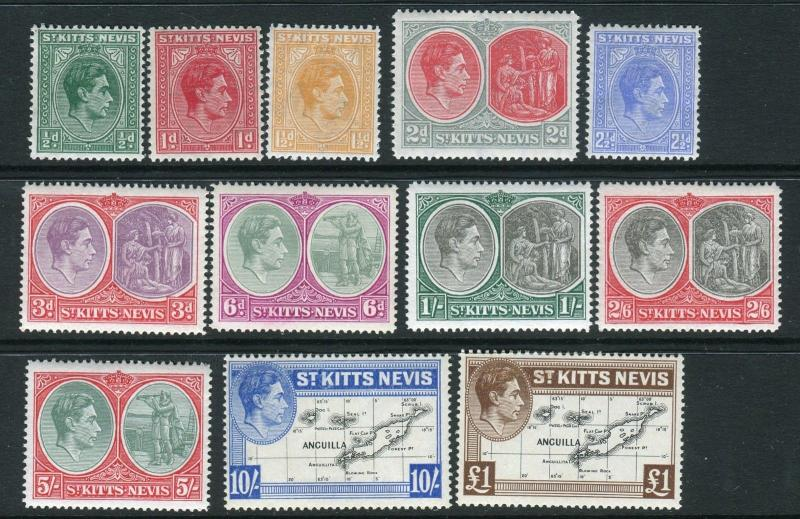 ST KITTS & NEVIS-1938-50  An unmounted mint basic set of 12 Sg 68-77f