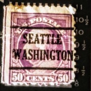 US 517  50¢ Red violet Seattle Washington precancel F