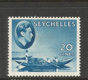 SEYCHELLES  1938 20c BLUE  KGVI  MLH  SG 140