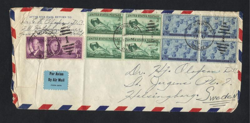 USA-Multi-Block Cover 1946-Block of (4)  Sc#936 coast guard Block of (4) Sc# 935