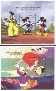 Nevis - 1995 Disney Valentines Mickey & Co - 8 Stamp Set + 2 S/S #886-95