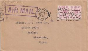 Great Britain 6d KGVI (2) 1949 Wembley, Middx. Airmail to Racine, Wis.  Stamp...
