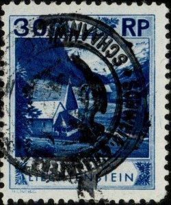 LIECHTENSTEIN - 1930 - SWISS CUSTOMS IN SCHAANWALD handstamp on Mi.99 (ref.891n)