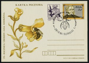 Poland 2020 on Jan Dzierzon Birthday pre-paid Postcard -  Bee, Flower