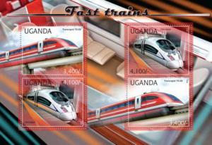 Uganda - Fast Trains - 4 Stamp Sheet - 21D-051