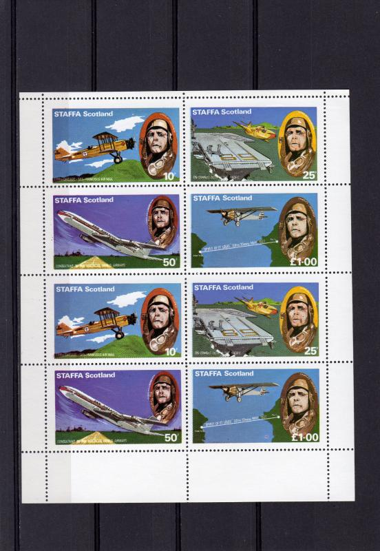 Staffa (Scotland) 1979 Aviation/Aircrafts Mini-Sheetlet of 8 Perforated (2 sets)