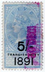 (I.B) QV Revenue : Transfer Duty 5/- (1891)