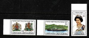 Grenada Grenadines-Sc#704-6-unused NH set-QEII-Royal Visit-1985-