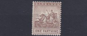 BARBADOS  1909   S G   163    1/4D  BROWN    MH