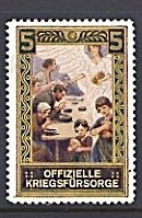 Germany Austria WorldWar I Cinderella Official War Fund Angel & Family at Table