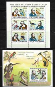 Comoro Islands 1041-42 James Audubon and Birds Mint NH