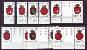 J19612 Jlstamps 1985 gibraltar set + gutter pair mnh #474-7 navy ships crests