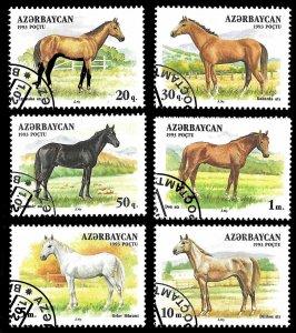 Azerbaijan SC 356-362 * Horses * CTO * 1993