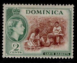 DOMINICA QEII SG142, 2c chocolate & myrtle-green, M MINT.