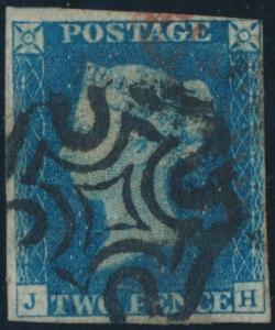 GB #2 1840 BLACK CROSS CANCEL F-VF W/ 4 FULL MARGIN USED CV $1080.00 HV1551