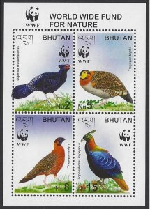 Bhutan #1398 MNH block of 4, WWF various birds, issued 2003